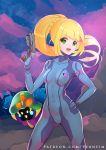 blonde_hair cosmog cosplay creatures_(company) crossover game_freak gen_7_pokemon green_eyes gun lillie_(pokemon) metroid nintendo pokemon ponytail samus_aran samus_aran_(cosplay) vekneim weapon zero_suit