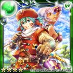 .hack// 1boy 1girl 2012 aqua_hair bangs belt blue_eyes breasts closed_mouth dagger dated dual_wielding facial_mark gloves guilty_dragon hat holding holding_weapon kinota kite_(.hack//) long_sleeves looking_at_viewer male_focus official_art red_hat reverse_grip short_hair v-shaped_eyebrows weapon