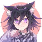 1boy :3 animal_ear_fluff animal_ears black_hair blush cat_ears checkered checkered_scarf commentary_request danganronpa dot_nose eyebrows_visible_through_hair face fang hair_between_eyes highres long_sleeves looking_at_viewer male_focus nanin new_danganronpa_v3 ouma_kokichi paw_pose scarf short_hair simple_background sleeves_past_wrists smile straitjacket violet_eyes