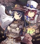 2girls black_hair bow cape capelet character_request copyright_request detective hat highres holding long_hair magnifying_glass multiple_girls necktie normaland one_eye_closed redhead short_hair violet_eyes yellow_eyes