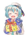 1girl 1other black_ribbon blue_hair blue_sailor_collar box closed_eyes dixie_cup_hat double_bun fang gift gift_box hat hat_ribbon kantai_collection long_sleeves military_hat open_mouth ribbon sailor_collar samuel_b._roberts_(kantai_collection) school_uniform serafuku shirt short_hair simple_background sleeve_cuffs smile thrux whale white_background white_hat white_shirt