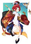 1girl animal apron bangs bare_legs basket benienma_(fate/grand_order) bird black_footwear blush commentary_request fate/grand_order fate_(series) flying full_body fur_trim ginklaga hat highres holding holding_basket japanese_clothes kimono long_sleeves looking_at_viewer parted_bangs red_eyes red_kimono redhead sandals short_hair smile socks solo white_apron white_footwear wide_sleeves