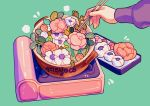aqua_background artist_name chopsticks cooking flower hands leaf meyoco no_humans original pink_flower plant simple_background tray white_flower