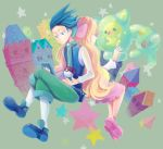 1boy 1girl back-to-back ball black_hair blonde_hair cattleya_(pokemon) creature creatures_(company) game_freak gen_5_pokemon grey_background hair_ornament huan_li long_hair nejiki_(pokemon) nintendo poke_ball poke_ball_(generic) pokemon pokemon_(creature) pokemon_(game) pokemon_dppt pokemon_platinum pokemon_trainer reuniclus shoes simple_background spiky_hair star very_long_hair