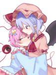 2girls ascot bangs bat_wings black_wings blue_shirt blush bow braid closed_mouth collared_dress dress eringi_(rmrafrn) eyebrows_visible_through_hair frilled_bow frilled_shirt frilled_shirt_collar frills hair_between_eyes hair_ornament hat hat_bow heart heart_hair_ornament hug komeiji_satori long_sleeves mob_cap multiple_girls nose_blush parted_lips pink_dress pink_hair pink_hat profile puffy_short_sleeves puffy_sleeves purple_hair red_bow red_eyes red_neckwear remilia_scarlet shirt short_sleeves simple_background sleeves_past_fingers sleeves_past_wrists third_eye touhou white_background wings