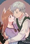 1boy 1girl absurdres animal_ears blush brown_hair craft_lawrence dress eye_contact facial_hair grey_eyes grey_hair hetero highres holo hug jewelry long_hair long_sleeves looking_at_another necklace nivearich open_mouth purple_dress red_eyes shirt simple_background smile spice_and_wolf stubble tail vest white_shirt wolf_ears wolf_tail