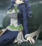 artist_name arya-aiedail blue_hair blue_skirt breasts brown_legwear clouds cloudy_sky crying fairy_tail fur-trimmed_sleeves fur_trim green_neckwear head_out_of_frame juvia_lockser large_breasts long_hair long_sleeves outdoors rain shiny shiny_hair side_slit sitting skirt sky tears thigh-highs watermark