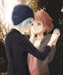 1girl 2girls beanie black_jacket blue_eyes blue_hair brown_hair brown_hoodie chloe_price collarbone commentary_request day eyebrows_visible_through_hair from_behind hand_holding hand_on_another's_cheek hand_on_another's_face hat hood hoodie jacket kotomiracle life_is_strange looking_at_another max_caulfield multiple_girls outdoors parted_lips pink_shirt shirt short_hair tree yuri