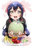 1girl absurdres bangs blue_hair blush commentary_request food fruit hair_between_eyes highres holding holding_food holding_fruit long_hair long_sleeves looking_at_viewer love_live! love_live!_school_idol_festival love_live!_school_idol_project open_mouth panda_copt simple_background smile solo sonoda_umi upper_body white_background yellow_eyes