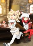 2girls ajino_(sakanahen) alpaca_ears alpaca_suri_(kemono_friends) alpaca_tail animal_ears artist_name bangs bird_wings blonde_hair blouse blunt_bangs blurry blurry_background bodystocking breast_pocket chair closed_mouth cup dated day drink eyebrows_visible_through_hair frilled_sleeves frills fur-trimmed_footwear fur-trimmed_sleeves fur_collar fur_scarf fur_trim gloves green_eyes hair_bun hair_over_one_eye hands_up head_wings holding holding_cup holding_tray horizontal_pupils indoors japanese_crested_ibis_(kemono_friends) kemono_friends legs_together long_hair long_sleeves looking_at_another mary_janes medium_hair multicolored_hair multiple_girls neck_ribbon open_mouth orange_eyes pantyhose pleated_skirt pocket red_gloves red_legwear red_neckwear redhead ribbon running scarf shoes shorts sitting skirt smile spilling steam sweater_vest table tail tray upper_teeth white_blouse white_hair white_scarf wide_sleeves window wings