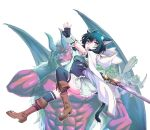 animal_ears animal_hood aqua_eyes belt_boots black_eyes black_hair black_tail boots cat_ears cat_girl cat_tail character_request chest_armor cloak club commentary_request dagger dress fantasy fingerless_gloves fran_(tensei_shitara_ken_deshita) full_body fur_trim gloves goblin hood horns lace lace-trimmed_dress muscle open_mouth oxoxox red_skin shishou_(tensei_shitara_ken_deshita) short_hair_with_long_locks short_sleeves sword tail tensei_shitara_ken_deshita thigh-highs underbust weapon white_cloak wings wrist_cuffs