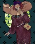 1girl ainu ainu_clothes bag bandanna bead_necklace beads earrings fox fur golden_kamuy hand_up handbag highres hoop_earrings inkarmat jewelry lipstick long_sleeves looking_at_viewer makeup necklace red_eyes redhead simple_background smile solo standing tamimay_(kshatriya)