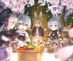 3girls ahoge apple banana bandage bell blurry_foreground bow bowtie cake check_commentary cherry_blossoms cloak commentary_request cup eyebrows_visible_through_hair facial_scar fate/apocrypha fate/extra fate/grand_order fate_(series) food fork frills fruit fur_trim glass_bottle glint grapes grey_eyes grey_hair hair_ornament hat jack_the_ripper_(fate/apocrypha) jar jeanne_d'arc_(fate)_(all) jeanne_d'arc_alter_santa_lily jingle_bell multiple_girls nursery_rhyme_(fate/extra) open_mouth personification petals rabbit sailor_hat saucer scar scar_on_cheek short_hair sweatdrop tattoo teacup teapot tearing_up tray tuxedo violet_eyes yasuyuki yellow_eyes