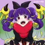 1girl blush cape dragon_girl dragon_wings dress fire_emblem fire_emblem:_seima_no_kouseki fire_emblem_heroes halloween juria0801 long_hair looking_at_viewer mamkute multi-tied_hair myrrh nintendo open_mouth purple_hair red_eyes simple_background smile solo twintails wings