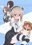 5girls :d alternate_eye_color animal_costume azumi_(girls_und_panzer) bandage bangs bear_costume bear_hood black_bikini_top black_choker black_eyes black_hair black_legwear black_panties black_skirt blue_eyes blush blush_stickers boko_(girls_und_panzer) breasts brown_hair brown_jumpsuit casual choker clenched_hands collared_shirt commentary_request eyebrows_visible_through_hair female_pervert gaijin_4koma girls_und_panzer glasses grey_eyes grey_hair half-closed_eyes heart heart-shaped_pupils high-waist_skirt highres layered_skirt legs light_brown_eyes light_brown_hair long_hair long_sleeves looking_at_another looking_at_viewer lying medium_breasts megumi_(girls_und_panzer) meme miniskirt multiple_girls nishizumi_miho no_bra not_on_shana off_shoulder on_side open_jumpsuit open_mouth opened_by_self panties pantyshot pantyshot_(sitting) parted_bangs pervert pointing red_eyes rumi_(girls_und_panzer) shimada_arisu shirt short_hair side_ponytail sitting skindentation skirt small_breasts smile sparkle standing striped striped_legwear sweat swept_bangs symbol-shaped_pupils tearing_up thigh-highs underwear v wavy_hair white_shirt