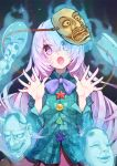 1girl :o arms_up aura blue_background blue_neckwear blue_shirt bow bowtie commentary_request eyebrows_visible_through_hair glowing hair_between_eyes hannya hata_no_kokoro head_tilt highres lavender_hair long_hair long_sleeves looking_at_viewer mask noh_mask open_hands open_mouth pink_hair pink_skirt plaid plaid_shirt shirt skirt solo standing star syuri22 touhou triangle untucked_shirt upper_body very_long_hair x