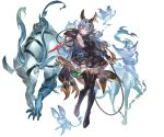 1girl alpha_transparency animal_ears armpits bangs bare_shoulders black_footwear black_gloves black_skirt blue_hair blush boots breasts brown_eyes closed_mouth dress earrings elbow_gloves erune ferry_(granblue_fantasy) full_body ghost gloves granblue_fantasy hair_ornament holding holding_weapon hoop_earrings jewelry long_hair looking_at_viewer medium_breasts minaba_hideo official_art rabbit_ears sideboob simple_background single_earring skirt sleeveless smile solo thigh-highs thigh_boots transparent_background wavy_hair weapon whip x_hair_ornament zettai_ryouiki