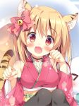 >_< 1girl :d animal_ears bangs bell black_choker black_legwear blonde_hair blush bow choker clenched_hands commentary_request detached_sleeves fang hair_bell hair_bow hair_ornament japanese_clothes jingle_bell kimono lens_flare long_sleeves looking_at_viewer obi open_mouth pan_(mimi) paw_pose pink_bow pink_kimono red_eyes sash short_hair smile solo_focus tail tiger_ears tiger_tail toranoana