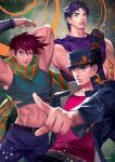 3boys aqua_eyes arms_up battle_tendency belt black_hair blue_eyes blue_hair chains clenched_hand earrings fingerless_gloves gakuran gloves hand_behind_head hat jewelry jojo_no_kimyou_na_bouken jonathan_joestar joseph_joestar_(young) kuujou_joutarou male_focus midriff multiple_boys nabicarol_(na_lolol) navel phantom_blood pointing purple_hair scarf school_uniform stardust_crusaders striped striped_scarf stud_earrings