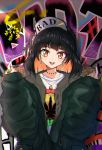 1girl :d bangs baseball_cap black_hair black_hat brown_jacket commentary_request earrings english_text eyebrows_visible_through_hair glint graffiti green_coat hair_ornament hands_up hat head_tilt highres hoop_earrings jacket jewelry long_hair long_sleeves looking_at_viewer middle_finger multicolored_hair nail_polish necklace one_side_up open_mouth orange_eyes orange_hair original oversized_clothes piercing pink_nails ring rudo_(rudorudo0917) shade shiny shiny_hair shirt sleeves_past_wrists smile solo standing sunlight t-shirt two-tone_hair upper_body white_shirt zipper zipper_pull_tab
