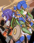 ahoge armor belt blue_armor blue_eyes blue_hair breastplate cape detached_sleeves fingerless_gloves fire_emblem fire_emblem:_souen_no_kiseki gloves green_eyes green_hair hairband headband helmet long_hair nephenee nintendo open_mouth polearm shunrai skirt spear sword thigh-highs wayu_(fire_emblem) weapon white_hairband white_headband