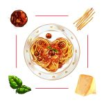 cheese food heart heart-shaped_food ichiknees leaf meatball no_humans noodles original pasta plate spaghetti spaghetti_and_meatballs