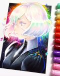 1other black_neckwear colored_eyelashes diamond_(houseki_no_kuni) gem_uniform_(houseki_no_kuni) houseki_no_kuni joanna_ladowska multicolored multicolored_eyes multicolored_hair parted_lips patreon_username photo portrait rainbow_eyes rainbow_hair short_hair solo traditional_media watermark web_address