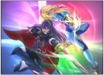 2girls armor blonde_hair blue_bodysuit blue_eyes blue_hair bodysuit breasts cape deekei falchion_(fire_emblem) fingerless_gloves fire_emblem fire_emblem:_kakusei gloves gun high_ponytail highres impossible_bodysuit impossible_clothes intelligent_systems long_hair looking_at_viewer lucina metroid mole mole_under_mouth multiple_girls nintendo open_mouth ponytail samus_aran shiny shiny_clothes skin_tight smile sora_(company) super_smash_bros. super_smash_bros._ultimate super_smash_bros_for_wii_u_and_3ds sword tiara weapon zero_suit