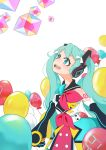 1girl absurdres aqua_bow aqua_eyes aqua_hair balloon bow cowboy_shot cube hatsune_miku headphones highres kinosuke_(pattaba) long_hair magical_mirai_(vocaloid) open_mouth red_bow smile solo twintails vocaloid white_background yellow_bow