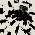 animal avogado6 black_cat blending bottle cat cat_focus commentary english_commentary fountain_pen greyscale ink ink_bottle monochrome no_humans original paper pen spill surreal too_many too_many_cats