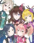 5girls :d :o ;o black_bow black_hair black_skirt blonde_hair blue_eyes blue_feathers blue_neckwear bow breasts brown_eyes brown_hair bunny_ears_prank choker cleavage collar earrings eyebrows_visible_through_hair flower green_eyes green_neckwear hair_between_eyes hair_bow hair_flower hair_ornament hayami_kanade highres ichinose_shiki idolmaster idolmaster_cinderella_girls idolmaster_cinderella_girls_starlight_stage inika jewelry jougasaki_mika lipps_(idolmaster) long_hair looking_at_viewer medium_breasts miyamoto_frederica multiple_girls necktie one_eye_closed open_mouth pink_hair pink_neckwear pleated_skirt purple_flower purple_neckwear purple_rose red_feathers red_flower red_neckwear red_rose red_skirt rose shiomi_shuuko short_hair silver_hair simple_background skirt smile sparkle twintails v white_background