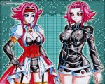2girls blue_eyes breasts brown_eyes choker cleavage code_geass cosplay costume costume_switch dress elbow_gloves fingerless_gloves flipped_hair gloves headband izayoi_aki izayoi_aki_(cosplay) jadenkaiba jewelry kallen_stadtfeld kallen_stadtfeld_(cosplay) large_breasts looking_at_viewer multicolored_hair multiple_girls necklace order_of_the_black_knights_uniform redhead short_hair short_hair_with_long_locks smile streaked_hair thigh-highs yuu-gi-ou yuu-gi-ou_5d's