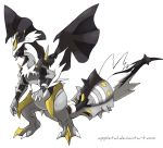 alternate_form appletail claws creatures_(company) dragon fusion game_freak gen_5_pokemon hexafusion highres kyurem looking_at_viewer nintendo no_humans pokemon pokemon_(creature) pokemon_(game) pokemon_bw reshiram sharp_teeth snowing solo standing tail teeth transparent_background tree white wings yellow_eyes zekrom