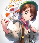 1girl backpack bag bangs brown_eyes brown_hair creatures_(company) female_protagonist_(pokemon_swsh) game_freak gen_8_pokemon green_hat hat highres holding holding_poke_ball honyaru_(nanairo39) looking_at_viewer nintendo open_mouth poke_ball pokemon pokemon_(creature) pokemon_(game) pokemon_swsh scorbunny shirt short_hair simple_background smile tam_o'_shanter upper_teeth
