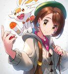 1girl backpack bag bangs brown_eyes brown_hair creatures_(company) female_protagonist_(pokemon_swsh) game_freak gen_8_pokemon green_hat hat highres holding holding_poke_ball honyaru_(nanairo39) looking_at_viewer nintendo open_mouth poke_ball pokemon pokemon_(creature) pokemon_(game) pokemon_swsh scorbunny shirt short_hair simple_background smile tam_o'_shanter upper_teeth