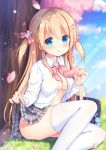 1girl :q bag bag_charm blonde_hair blue_sky blurry blurry_background blush bow breasts charm_(object) cherry_blossoms cleavage closed_mouth clouds collared_shirt commentary_request day depth_of_field dress_shirt feet_out_of_frame flower grass grey_skirt hair_bow hair_flower hair_ornament ikataruto lifted_by_self long_hair looking_at_viewer medium_breasts moe2019 no_bra on_grass original outdoors petals pink_bow pink_flower plaid plaid_skirt pleated_skirt school_bag school_uniform shirt sitting skirt skirt_lift sky smile solo thigh-highs tongue tongue_out tree two_side_up very_long_hair white_legwear white_shirt