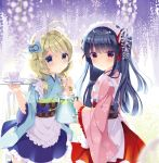 2girls ahoge apron black_hair blonde_hair blue_eyes blue_kimono blue_skirt blurry blurry_foreground blush checkered checkered_obi closed_mouth commentary_request cup depth_of_field floral_print flower frilled_apron frilled_skirt frills green_eyes holding holding_jug holding_tray idolmaster idolmaster_cinderella_girls japanese_clothes kimono long_hair long_sleeves looking_at_viewer looking_to_the_side maid_headdress multicolored multicolored_eyes multiple_girls obi pink_kimono print_kimono red_eyes red_ribbon red_skirt ribbon sajou_yukimi sash saucer skirt takashina_asahi teacup tray wa_maid waist_apron water white_apron white_flower wide_sleeves yusa_kozue