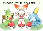 :<> :d black_eyes blue_eyes commentary creatures_(company) english_commentary english_text game_freak gen_8_pokemon gradient gradient_background grass green_background grookey highres mono_land nintendo no_humans open_mouth poke_ball poke_ball_(generic) pokemon pokemon_(creature) red_eyes round_teeth scorbunny smile sobble teeth upper_teeth white_background