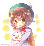 1girl :d aran_sweater backpack bag bangs beret blue_sweater blush brown_eyes brown_hair collared_shirt commentary_request creatures_(company) dress_shirt eyebrows_visible_through_hair female_protagonist_(pokemon_swsh) flower game_freak gen_8_pokemon green_hat hair_between_eyes hat kouu_hiyoyo looking_at_viewer nintendo open_mouth pokemon pokemon_(creature) pokemon_(game) pokemon_swsh red_shirt scorbunny shirt short_hair simple_background smile sweater twitter_username upper_body white_background yellow_flower