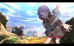1boy 1girl :d animal animal_on_shoulder backpack bag blue_sky brown_eyes brown_hair cardigan clouds creatures_(company) day female_protagonist_(pokemon_swsh) game_freak gen_8_pokemon grey_hat grookey hand_up long_sleeves male_protagonist_(pokemon_swsh) nintendo open_mouth otsumami_(bu-bu-heaven) outdoors outstretched_hand pokemon pokemon_(game) pokemon_swsh red_shirt road_sign scorbunny shirt short_hair sign sky smile sobble standing