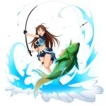 1girl :d ahoge blue_footwear blue_shorts breasts brown_hair cleavage crop_top fish fishing fishing_rod floating_hair green_eyes groin highres holding_rod long_hair medium_breasts midriff navel official_art open_mouth short_shorts shorts sima_(sao) smile solo standing standing_on_one_leg stomach sword_art_online thigh_strap transparent_background very_long_hair