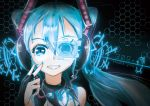 1girl absurdres aqua_eyes aqua_hair aqua_nails bangs english_text engrish_text followers hair_between_eyes hatsune_miku headphones hexagon highres honeycomb_(pattern) kinosuke_(pattaba) long_hair looking_at_viewer nail_polish parted_lips portrait ranguage smile solo twintails vocaloid