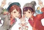 1boy 1girl beanie beret blush brown_eyes brown_hair creatures_(company) female_protagonist_(pokemon_swsh) game_freak gen_8_pokemon green_hat grey_hat grey_sweater grookey hat leaning_in male_protagonist_(pokemon_swsh) nintendo pokemon pokemon_(game) pokemon_swsh polo_shirt red_shirt scorbunny shirt short_hair simple_background sketch smile sobble sweater syerii v white_background
