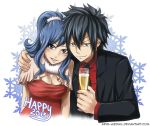 1boy 1girl 2015 arya-aiedail black_hair black_jacket black_neckwear blue_eyes blue_hair breasts brown_eyes collared_shirt couple cup dress fairy_tail gray_fullbuster hair_between_eyes hair_ornament hand_on_another's_shoulder happy_new_year holding holding_cup jacket juvia_lockser large_breasts long_hair looking_at_viewer necktie new_year open_clothes open_jacket parted_lips ponytail red_dress red_shirt shirt sleeveless sleeveless_dress smile snowflakes spiky_hair v-shaped_eyebrows watermark web_address white_background wing_collar