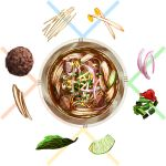 bowl food from_above ichiknees leaf liquid meatball no_humans noodles onion original pho vegetable
