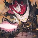 1girl 2boys battle bound braid braided_ponytail claws cloak cracked_mask glowing glowing_eyes glowing_weapon grey_cloak highres hollow_knight hollow_knight_(character) hornet_(hollow_knight) horns jun_(seojh1029) knight_(hollow_knight) light_particles looking_at_another mask multiple_boys nail red_cloak rock string sword weapon white_hair