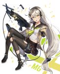 1girl :d ahoge aliceblue ammunition belt_pouch black_footwear black_gloves black_legwear black_sailor_collar blush bra breasts broken broken_weapon brown_cardigan brown_skirt cardigan collarbone cup disposable_cup drinking_straw girls_frontline gloves green_neckwear gun h&k_mg4 hair_between_eyes hair_ornament hairband hairclip head_tilt highres holding holding_cup holding_gun holding_weapon knees_up leg_belt long_hair long_sleeves looking_at_viewer machine_gun magazine_(weapon) mg4_(girls_frontline) midriff miniskirt neckerchief object_namesake open_cardigan open_clothes open_mouth pantyhose pleated_skirt pointing pouch sailor_collar school_uniform serafuku shirt shoes silver_hair skirt smile solo sparks torn_clothes torn_legwear underwear very_long_hair weapon white_bra white_shirt yellow_eyes