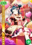 blue_hair blush character_name dress long_hair love_live!_school_idol_festival love_live!_sunshine!! pink_eyes smile tsushima_yoshiko valentines wink