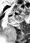 1girl artist_name bow crazy_eyes crazy_smile frilled_sleeves frills graphite_(medium) greyscale hane_(azelye) hat hat_bow highres holding_skull horror_(theme) komeiji_koishi looking_at_viewer monochrome short_hair signature skull solo teeth touhou traditional_media upper_body
