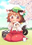 1girl :3 :p animal_ear_fluff animal_ears blanket blue_sky blurry blush bow brown_hair cat_ears cat_tail chen cherry_blossoms clouds commentary_request cup day depth_of_field eating food food_on_face food_on_finger frilled_skirt frills grass hat high_collar highres holding holding_food ibaraki_natou jewelry long_sleeves looking_at_viewer messy mob_cap mochen multiple_tails obentou onigiri outdoors petals picnic red_eyes red_skirt red_vest rice rice_on_face seiza shirt short_hair single_earring sitting skirt sky solo tail tongue tongue_out touhou tree_branch vest white_bow white_neckwear white_shirt